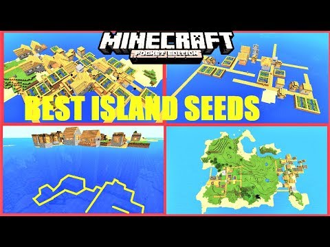 Minecraft PE - Top 5 BEST ISLAND SEEDS ! DOUBLE VILLAGE, STRONGHOLD, MONUMENT & MORE   MCPE 1.2