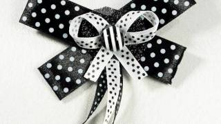 Black and White Polka Dot Bow Brooch: BWHBRBO