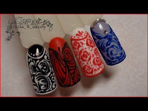 Дизайн ногтей красное кружево