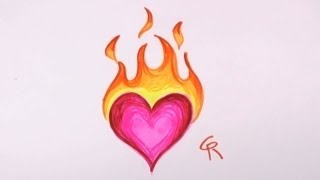 Easy to Draw Flaming Heart Design - CC