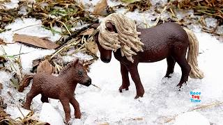 Wild Animals Toys in the Snow For Kids - Fun Learning Animal Names Video