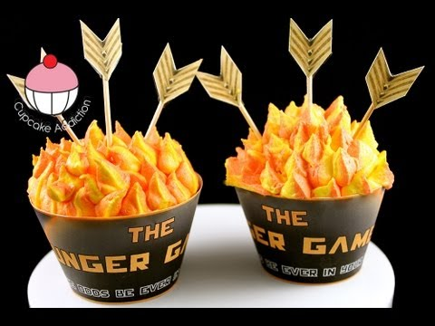 HUNGER GAMES CUPCAKES! Make Catching Fire Cupcakes - A Cup Cake Addiction how To Tutorial
