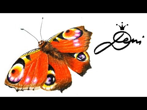 Schmetterling zeichnen 🦋 Tagpfauenauge 🦋 peacock butterfly drawing 🦋 как се рисува пеперуда 🦋