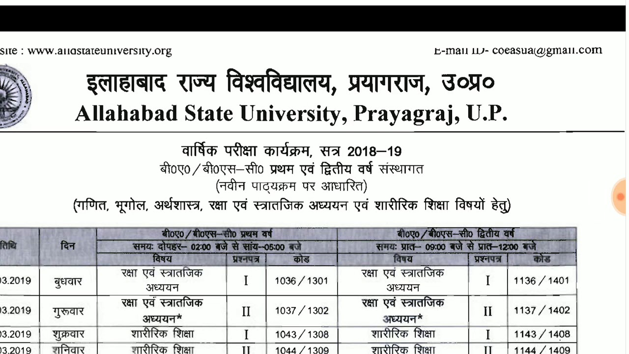 Ba exam date 2019 up board