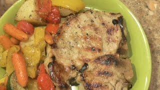 Brined Pork Chops & Roasted Veggies