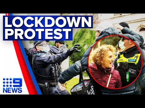 Anti-lockdown protesters overwhelmed by police | Coronavirus | 9 News Australia