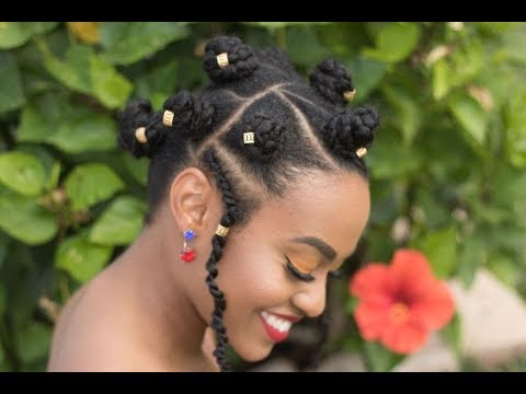Braided Bantu Knot Easy Hairstyle Black Panther Inspired