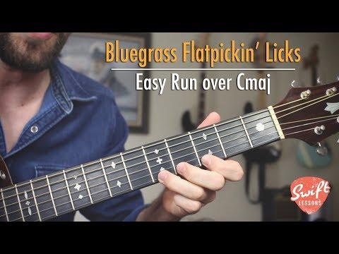 Easy Bluegrass Flatpicking Guitar Licks in Cmaj