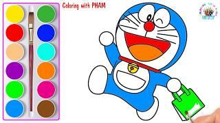 Vẽ và tô màu doraemon chú mèo máy đến từ tương lai - Coloring doraemon