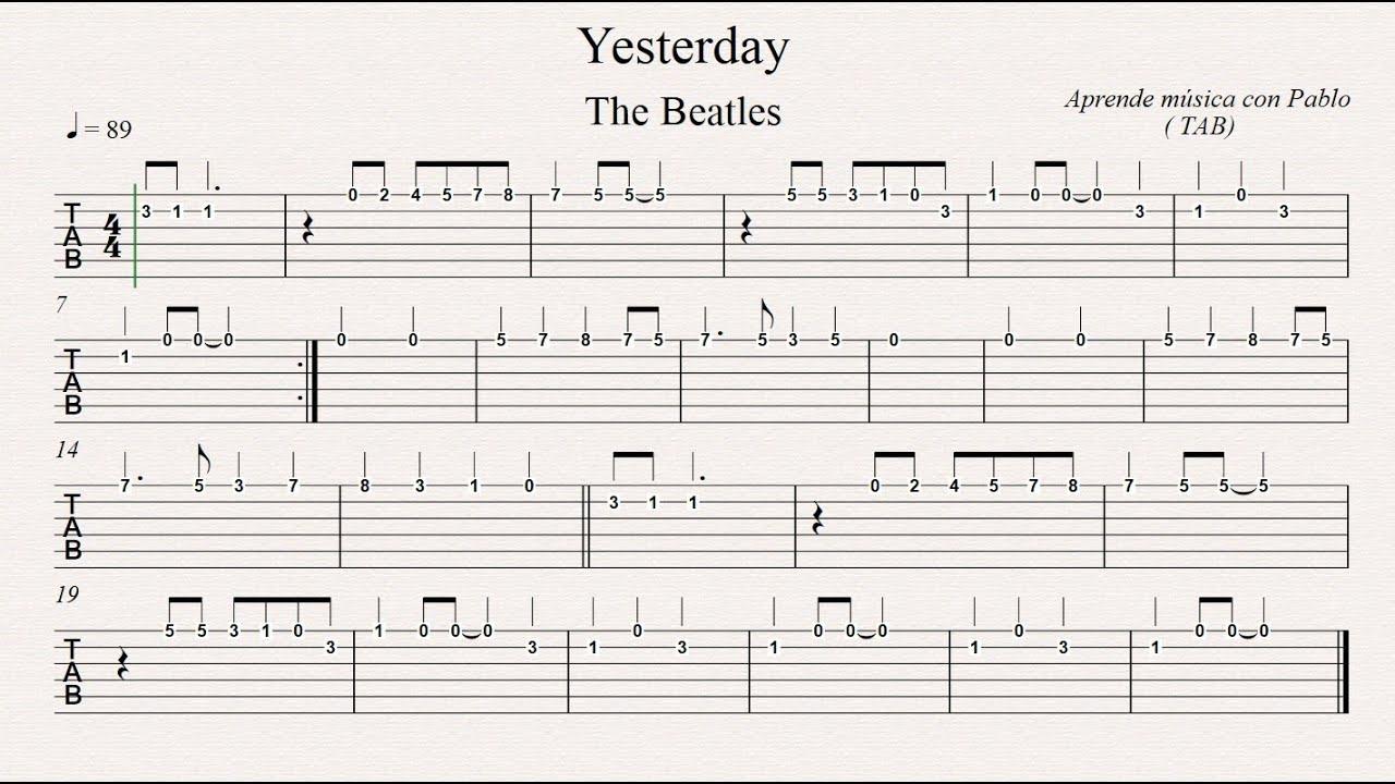 Yesterday tab guitarra tablatura con playback for Partituras guitarra clasica