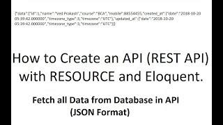 API-Resourse (P-1): Erstellen-API (Rest-API), die mit Ressourcen-und Eloquent in LARAVEL