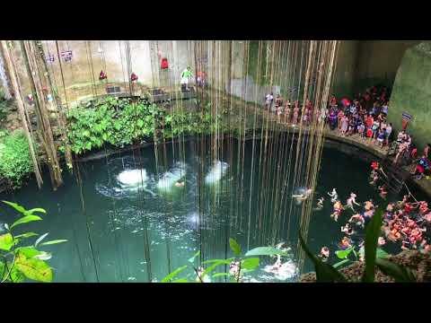 Cenote Ik Kil - Steve jumps in from ledge