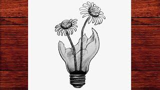 Yeni Başlayanlar İçin Adım Adım Kolay Karakalem Çizimleri - Ampul İçinde Çiçek Resmi - Çizim Mektebi