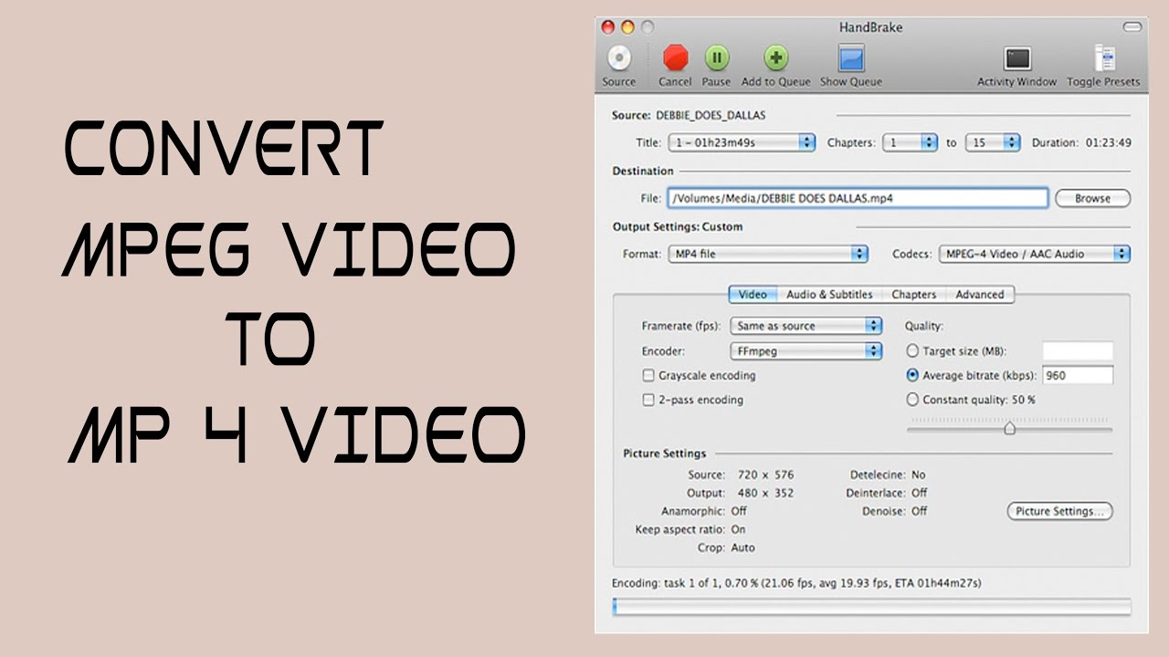 Convert MPEG 2 video to Mp4 video || Handbrake ||