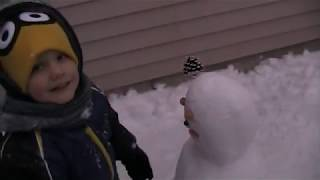 Making (and licking) first Snowman