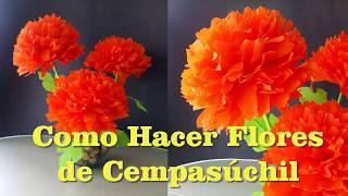 Como Hacer Flores de Cempasúchil Con Papel Crepe Para Día de Muertos