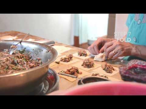 Making manto (dumplings) in Min Kush, Kyrgyzstan
