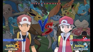 Pokemon Battle USUM: Red Origins Vs Red (Pokémon Origins, Pokemon Wifi Battle)