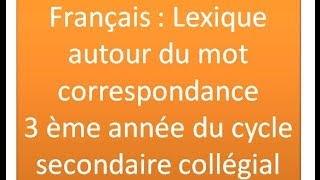 Français : Lexique autour du mot correspondance 3 ème année du cycle secondaire collégial