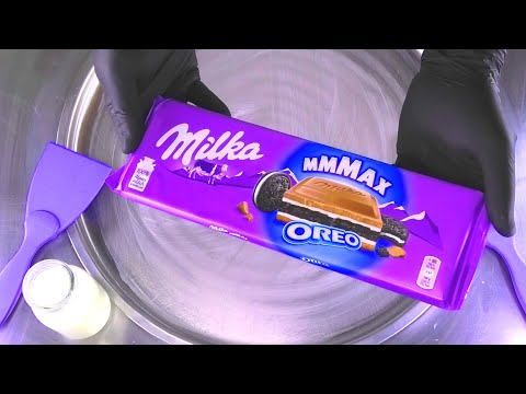 Milka & OREO MAX Ice Cream Rolls | how to make satisfying Milk Dairy Chocolate Ice Cream | ASMR Food