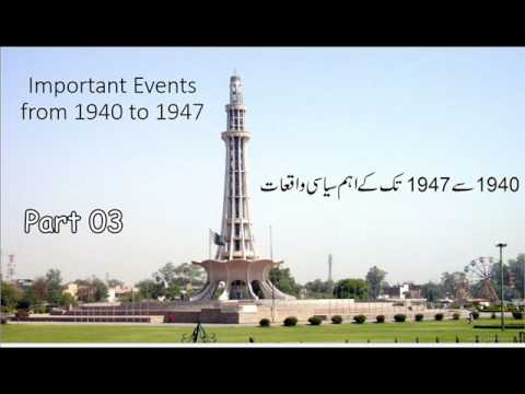 Important Political Events from 1940 to 1947 Part 03 in Urdu/Hindi