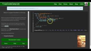 Return Largest Numbers in Arrays, freeCodeCamp review, Basic Algorithm Scripting lesson 6
