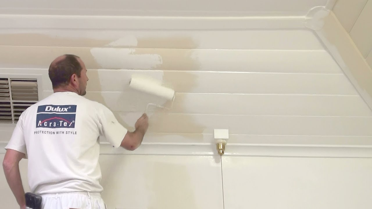 How To Paint Wood Paneling    How To Paint A Wood Or Timber Panel Ceiling.    YouTube