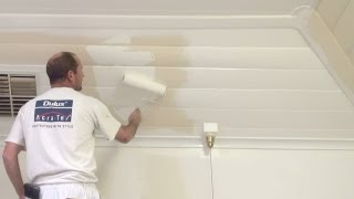 How To Paint Wood Paneling -- How To Paint A Wood Or Timber Panel Ceiling.