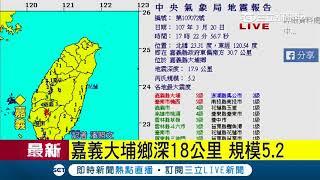 震央在嘉義縣政府東偏南方30.7公里,地震深度:19.7公里,芮氏規模5.2|記者 潘照文|【地震快報】20180320|三立新聞台