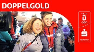Deutsches Haus feiert Olympiasieger Andreas Wellinger und Laura Dahlmeier 🥇 | Team Deutschland