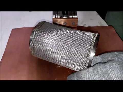 Приварка мелкоячеистой нержавеющей сетки на каркас фильтрэлемента