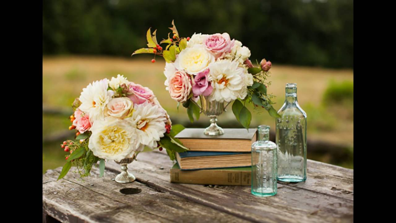 Garden Rose And Vintage Bottle Centerpieces