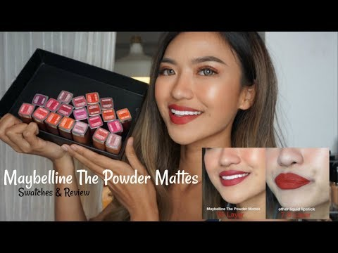 Maybelline The Powder Mattes Swatches 20 Shades + Review & Comparison! | Bahasa Indonesia