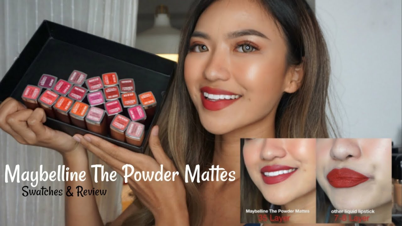 Maybelline The Powder Mattes Swatches 20 Shades Review Maybellinelipstik