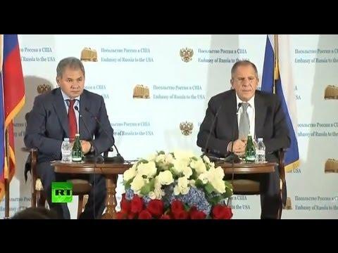 Пресс-конференция Сергея Лаврова и Сергея Шойгу из посольства России в США