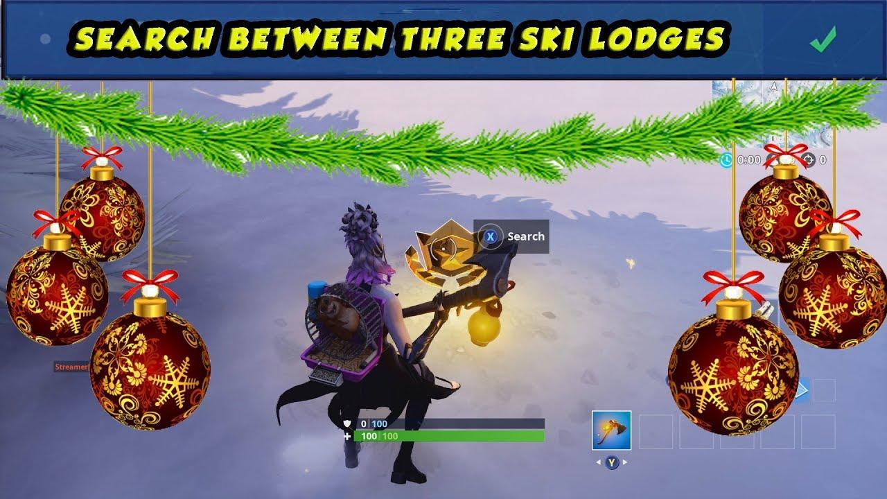 Fortnite Search Between Three Ski Lodges Season 7 Week 3 Youtube