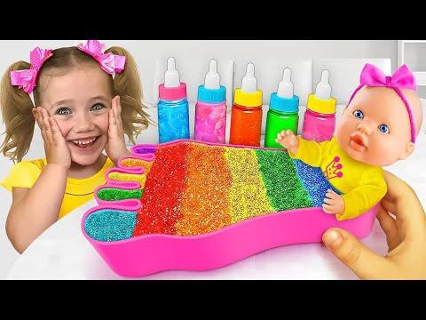 Sasha and Anita Share Colored Bubble Gum with Dad and Make Peacock Rangoli