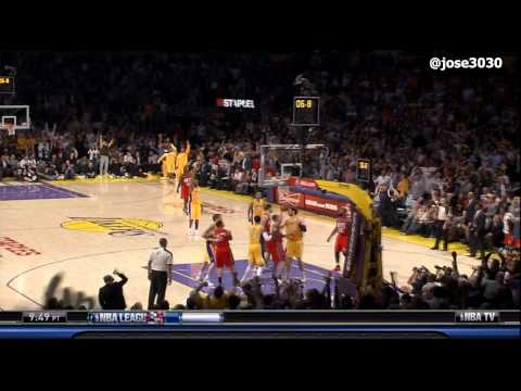 Kobe Bryant Drills 3, Points Finger Gun @ Jordan Farmar - Nets @ Lakers 4/3/2012