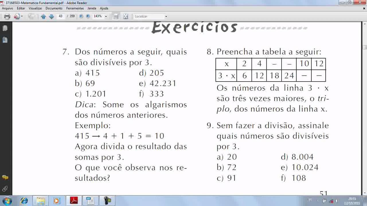Exercícios de problemas de matemática
