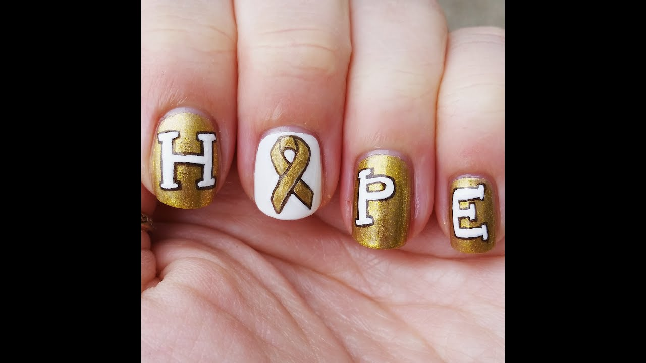 Go Gold Nail Art for Childhood Cancer Awareness Month - YouTube