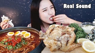[Sub]/Real Sound/ [ chicken feet soup ] [ fried chicken ] [ Soju ] [ beer ] /Mukbang eating yummy