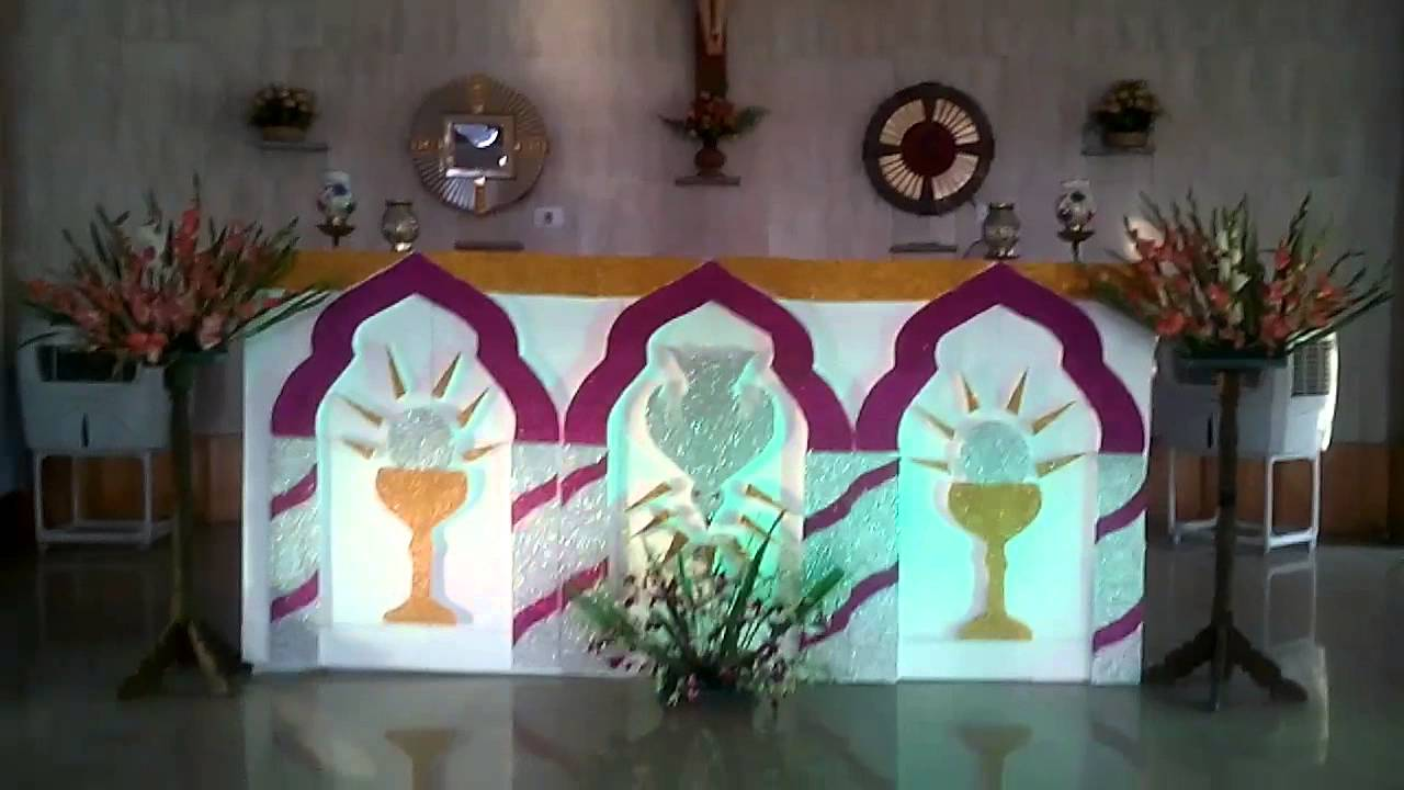 Altar on first holy communion day youtube for Altar decoration for first holy communion