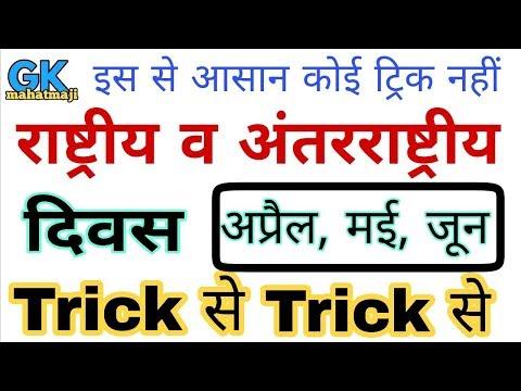 Gk Tricks | विश्व एवं अंतर्राष्ट्रीय दिवस ट्रिक | अप्रैल, मई, जून | Important Diwas (days)