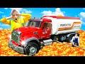 ПОЛ ЭТО ЛАВА Дети спасают машинку грузовик Bruder Экстремальный челлендж