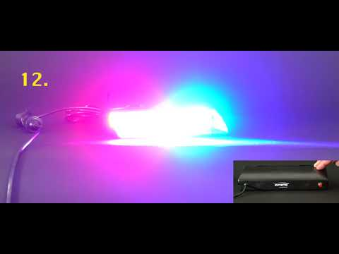 Xprite 16 LED Red Blue Strobe Lights For Dash / Windshield With Suction Cups