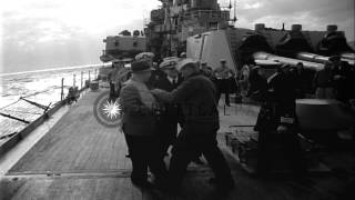 United States Secretary of Navy Charles Thomas on USS Bennington and USS St. Paul...HD Stock Footage