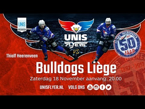 Livestream IJshockey Unis Flyers - Bulldogs Liège 18 november 2017
