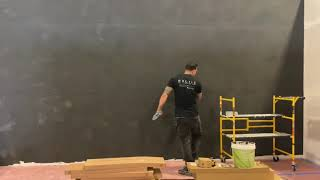 Venetian plaster concrete slab look, black marmorino Ks for home and design show!