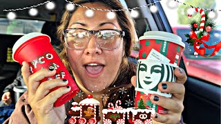 Got my free Starbucks holiday cup Plus I tried the peppermint mocha for the first time