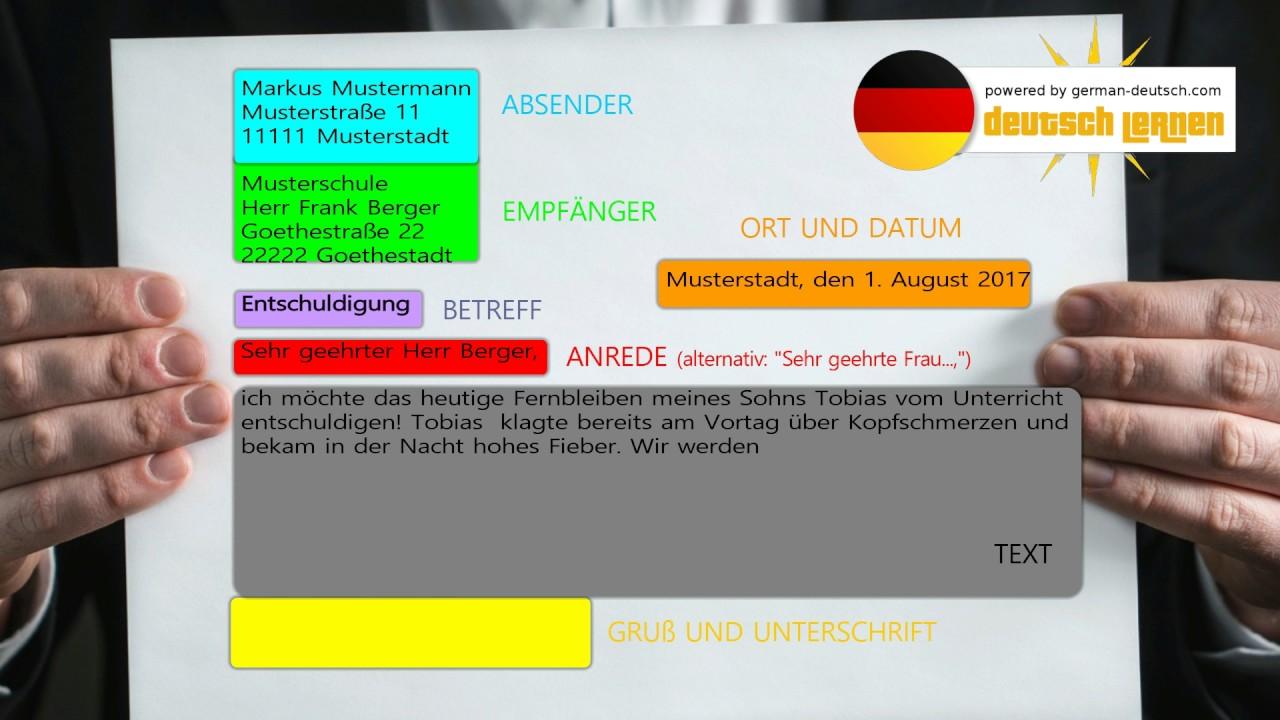Deutscher Brief Formell Aufbau Und Beispiel A1 A2 B1 B2 Sehr